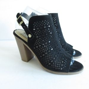 Dolce Vita Ankle Boots Perforated Peep Toe Suede